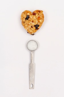 Cereal and spoon top view