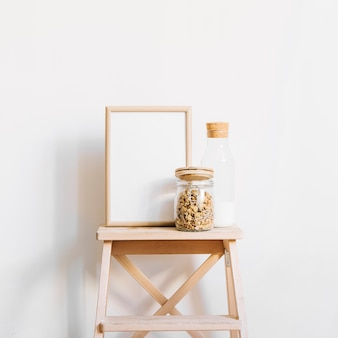 Cereals and frame on stool