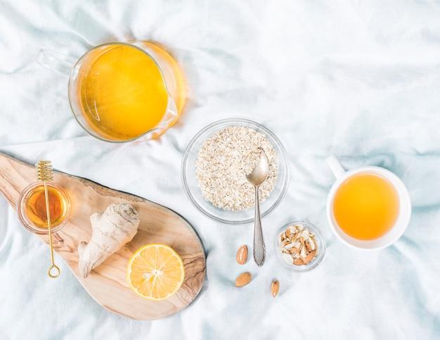 Cereals breakfast in bed