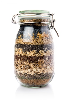 Cereals inside jar glass