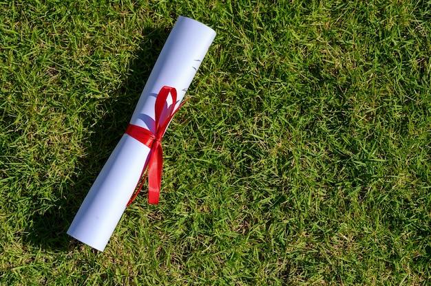 緑の葉に置かれた卒業生の証明書。