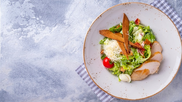 Cesar salad with chicken. copy space, top view