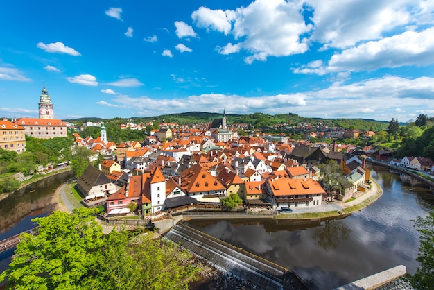 Cesky krumlov city from aerial view with river in perfect sunny day