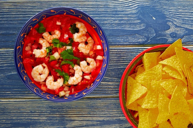 Ceviche de camaron shrimp and mexican nachos
