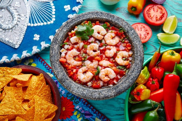 Ceviche de camaron shrimp molcajete from mexico