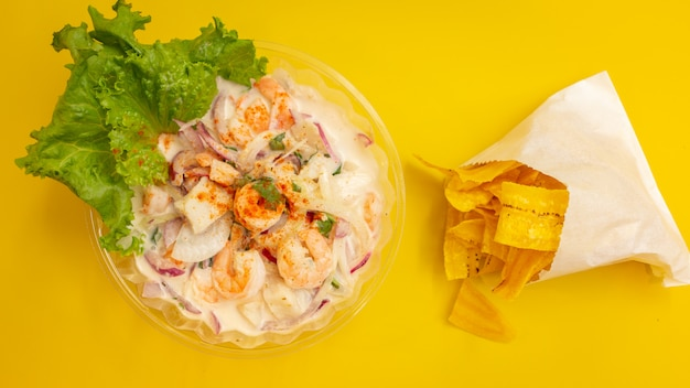 Ceviche with plantain chips