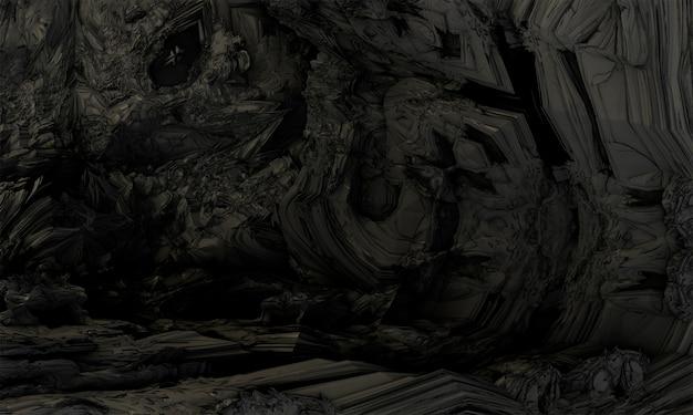 Cgフラクタル抽象的な背景形状。黒と灰色の花崗岩の壁。 3dレンダリング。