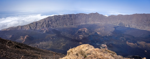 Cha das caldeiras panoramic view from pico do fogo in cape verde