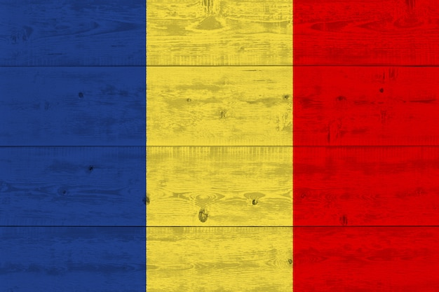 Chad flag painted on old wood plank