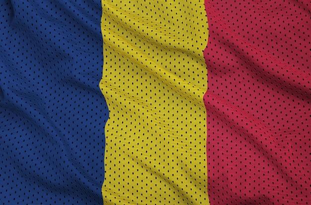 Chad flag printed on a polyester nylon mesh