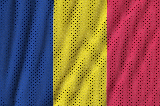 Chad flag printed on a polyester nylon sportswear mesh fabric