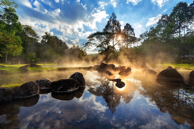 Chae son hot spring national park at sunrise in lampang province, thailand