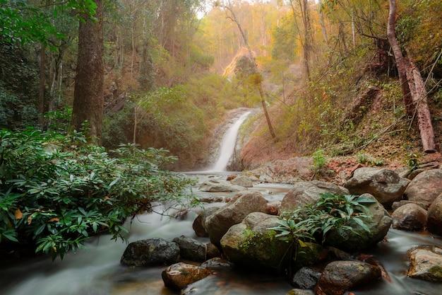 Chae son waterfall at chae son nation park, lampang thailand