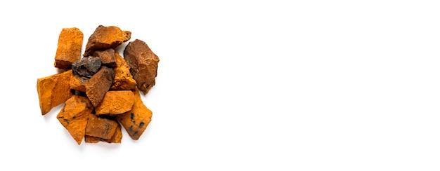 Чага гриб. куча крупных кусочков натурального дикого березового гриба чага на белом