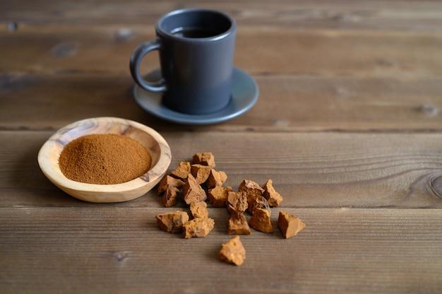 Chaga tea mushroom from birch tree using for healing tea or coffee in folk medicine