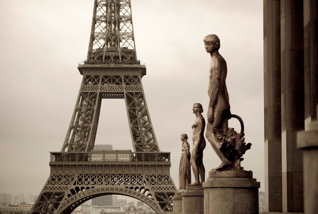 Chaillot palace statues and eiffel tower in paris france
