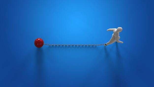 Цепочка и шар - 3d иллюстрации