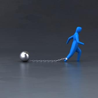 チェーンとボール-3 dイラストレーション