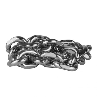 Chain bracelet silver isolated on white wall