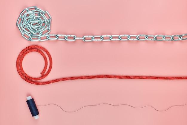 Chain, braided nylon rope and thread