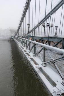 Chain bridge in budapest under the snow