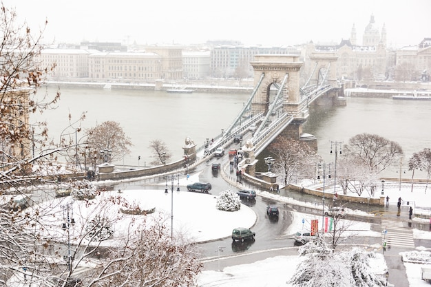 Chain bridge in budapest on a snowy day