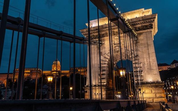 Chain bridge over the danube in the night. budapest, hungary