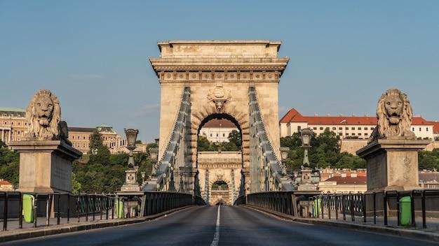 Chain bridge over the danube river in budapest