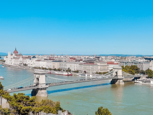 Chain bridge and parliament are the landmarks of the hungarian capital.