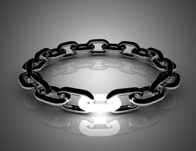 Концепция цепи с белым звеном. 3d иллюстрации