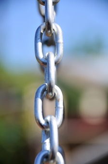 Chain links - shows a closeup of a metal chain link segment from a children's swing set.