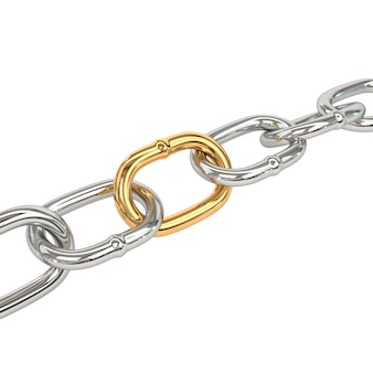 Chain with golden link, isolated on white background.