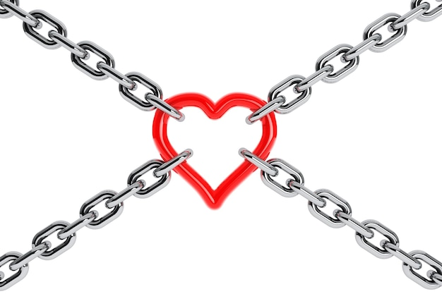 Chain with red heart element on a white background