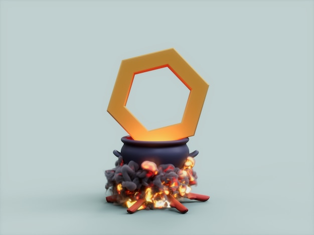Chainlink 가마솥 화재 요리사 암호화 통화 3d 그림 렌더링
