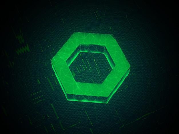 Chainlink crypto currency 미래의 홀로그램 3d 그림 렌더링