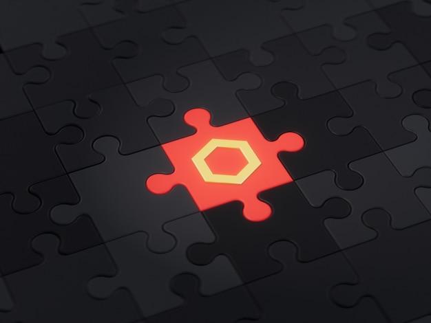 Chainlink 다른 독특한 직소 퍼즐 조각 암호화 통화 3d 그림 개념 렌더링