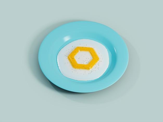 Chainlink 계란 노른자 써니 사이드 업 아침 식사 암호화 통화 3d 그림 렌더링