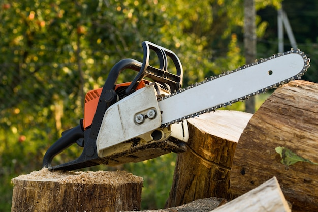 Chainsaw that stands on a heap of firewood in the yard on green grass