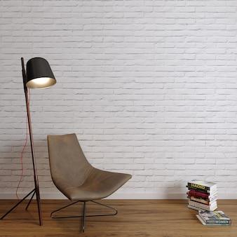 흰색 벽돌 벽 앞에 책과 의자와 램프