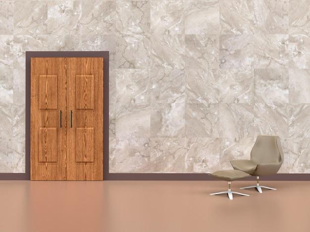 Стул в комнате с деревянной дверью, 3d-рендеринга