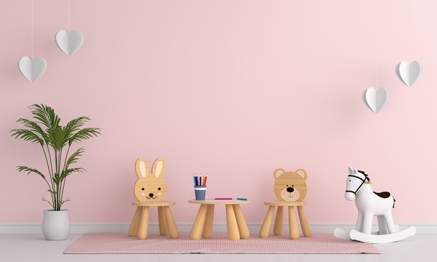Chair and table in pink child room interior