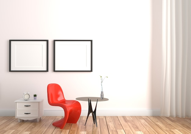 Chair and vase on table in wooden floor on white wall background. 3d rendering