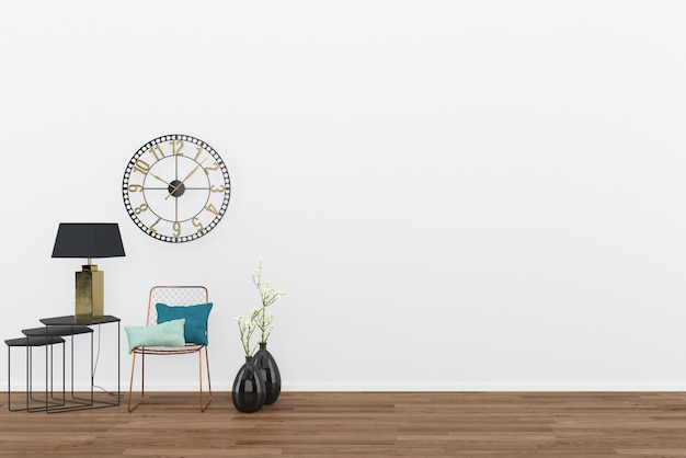 Chair vintage wall room interior dark wood floor with classic clock background
