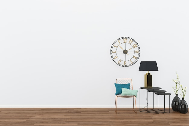 Chair vintage wall table room interior dark wood floor with classic clock background