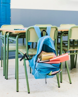 Chair with backpack in school