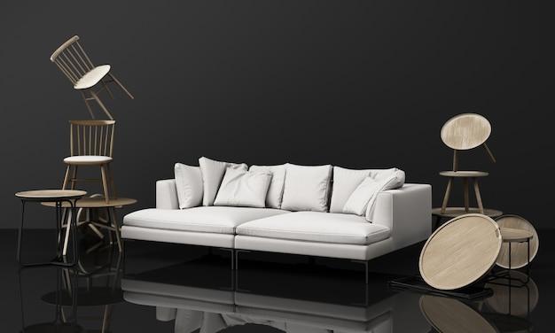 椅子とソファとコーヒーテーブルの木製の質感