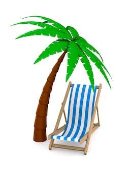 Шезлонг и пальма, изолированные на белом. 3d иллюстрации