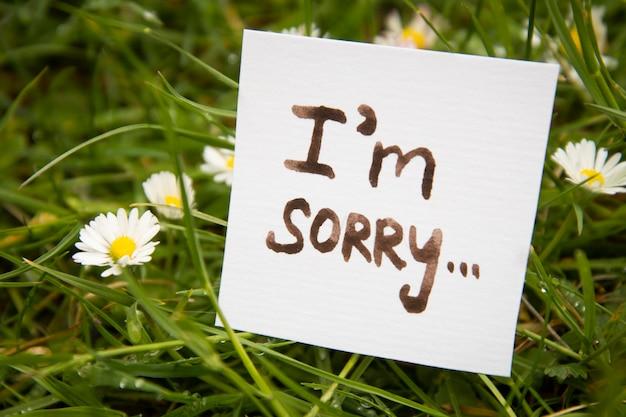 Сожалею. наклейка с надписью