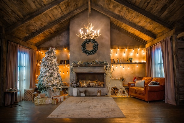 Chalet house with christmas decoration, fireplace in room interior