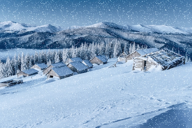 Chalet in the mountains. carpathian, ukraine, europe. bokeh ligh